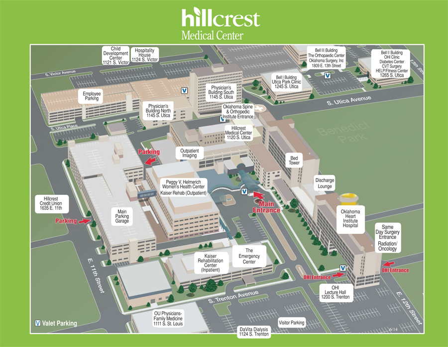 Campus Parking Map Hillcrest Medical Center in Tulsa Oklahoma